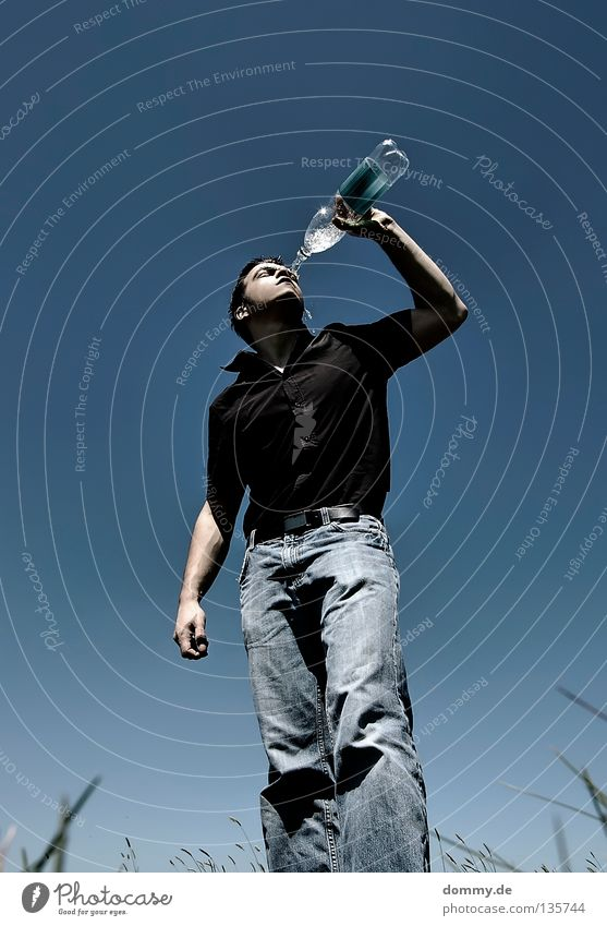 Man Water Hand Blue Summer Black Cold Grass Warmth Legs Mouth Field Arm Skin Drinking Jeans