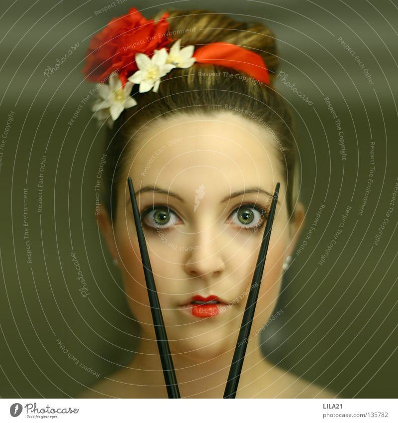 Woman Red Eyes Hair and hairstyles Culture China Cosmetics Make-up Japan Cutlery Sushi Chinese Scare Chopstick Geisha