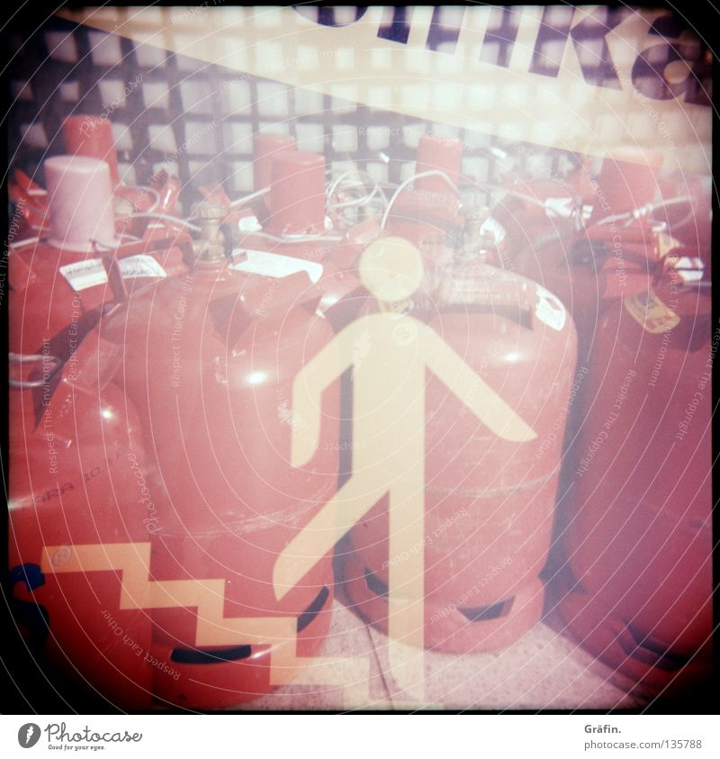 Red Stairs Signage Floor covering Industrial Photography Fence Restaurant Services Double exposure Gas Grating Pictogram Gas cylinder