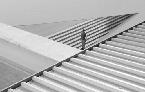 best of series Graphic Concrete Grid Site Man Firm Stand Triangle Doomed Loneliness Small Large Black White Composing Gutter Corrugated sheet iron Transparent