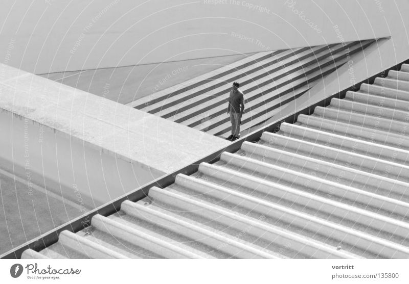 Human being Man White Black Loneliness Street Architecture Small Building Line Art Concrete Stairs Large Stand Construction site