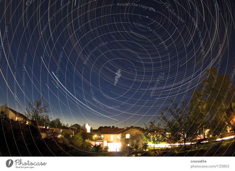Sky Beautiful Tree Loneliness House (Residential Structure) Lighting Small Bright Car Earth Circle Transience Stars Airplane Village Astrology