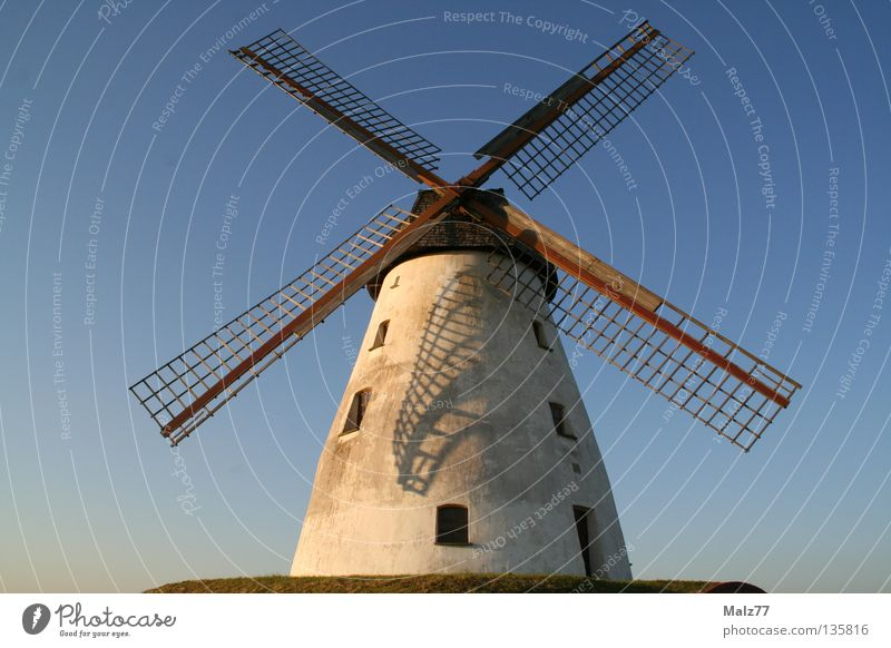 X in the sky Windmill Impressive White Sunset Azure blue Green Window Small Majestic Sublime Historic Sky Blue height Shadow Wing Don Quixote Veltheim Evening