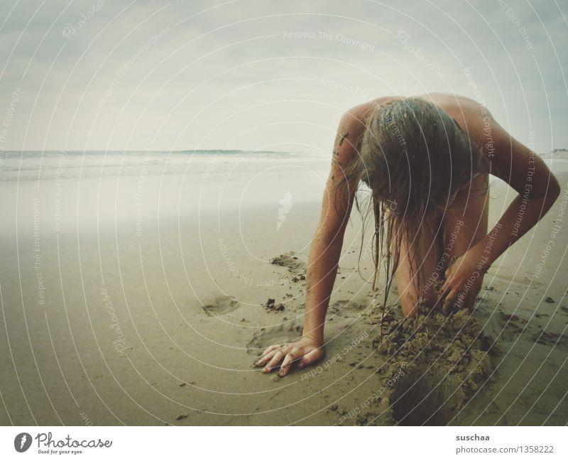 Child Vacation & Travel Water Ocean Girl Beach Sand Wet Tracks