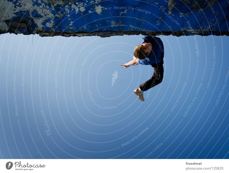 feeling blue Parkour Jump Back somersault Backwards Back-light Switzerland Acrobatic Airplane Body control Brave Risk Skillful Easygoing Spirited Action