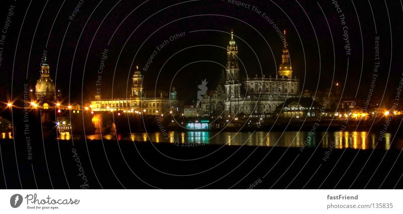 Water Lighting Coast Architecture Large River Night Tower Dresden Historic Downtown Street lighting Elbe Promenade Saxony Baroque