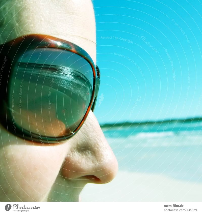 Sun on your face Vacation & Travel Beach Ocean Sunglasses Suntan lotion Eyeglasses Reflection Summer Face turquoise gravel Nose Weather protection LSF UV Lens