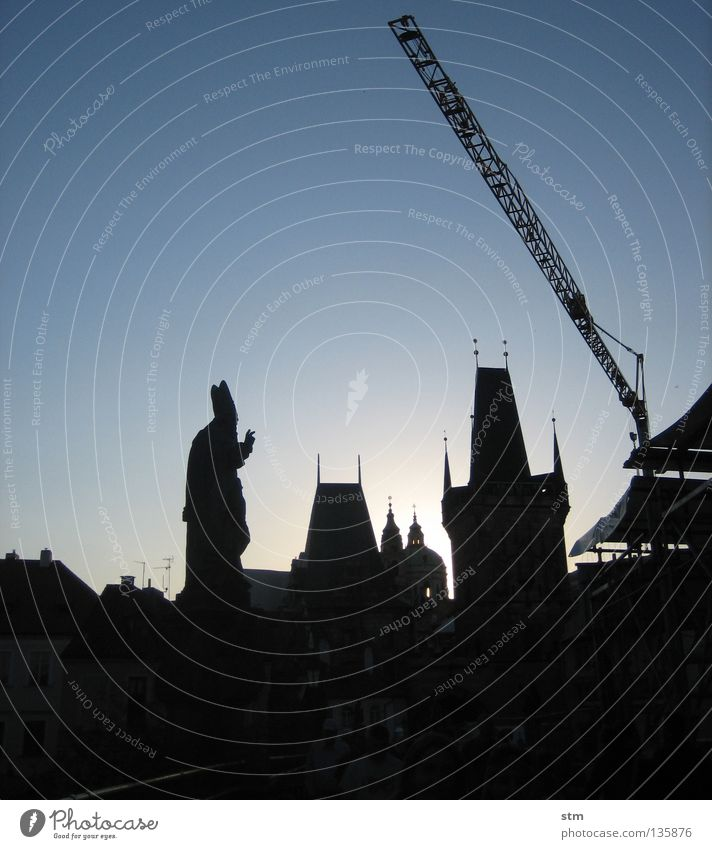Human being Sky Sun Blue City Roof Construction site Tower Statue Skyline Monument Past Historic Still Life Sculpture