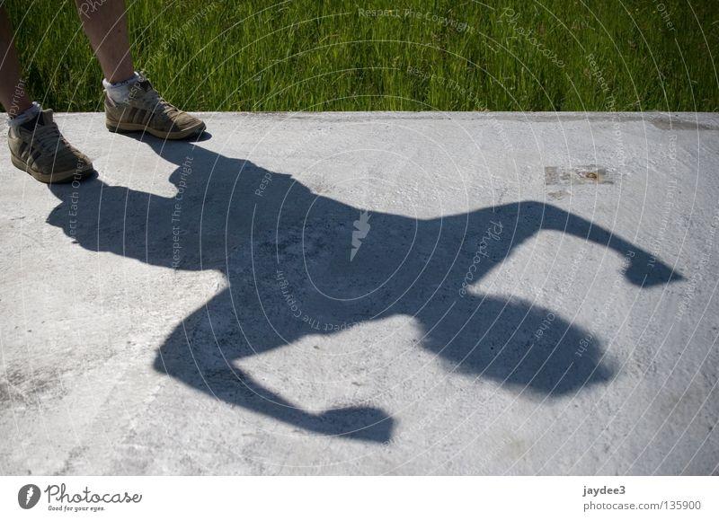 super shadow Footwear Light Shadow play Superman Grass Strong Power Gray Summer Contrast Musculature Legs Sun good weather