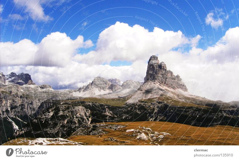 dolomites three pinnacles Dolomites Merlon Italy Vacation & Travel Alpine pasture Mountain Rock Nature sixths misurina Piano piana rienz
