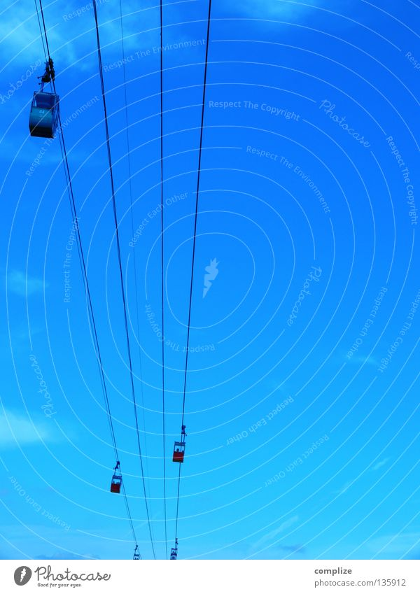 blue Cable car Above Abseil Driving Movement Ski lift Summer Winter Strong Steel Services Blue Aviation Rope Sky as of Mountain jets Driver's cab gondola lift
