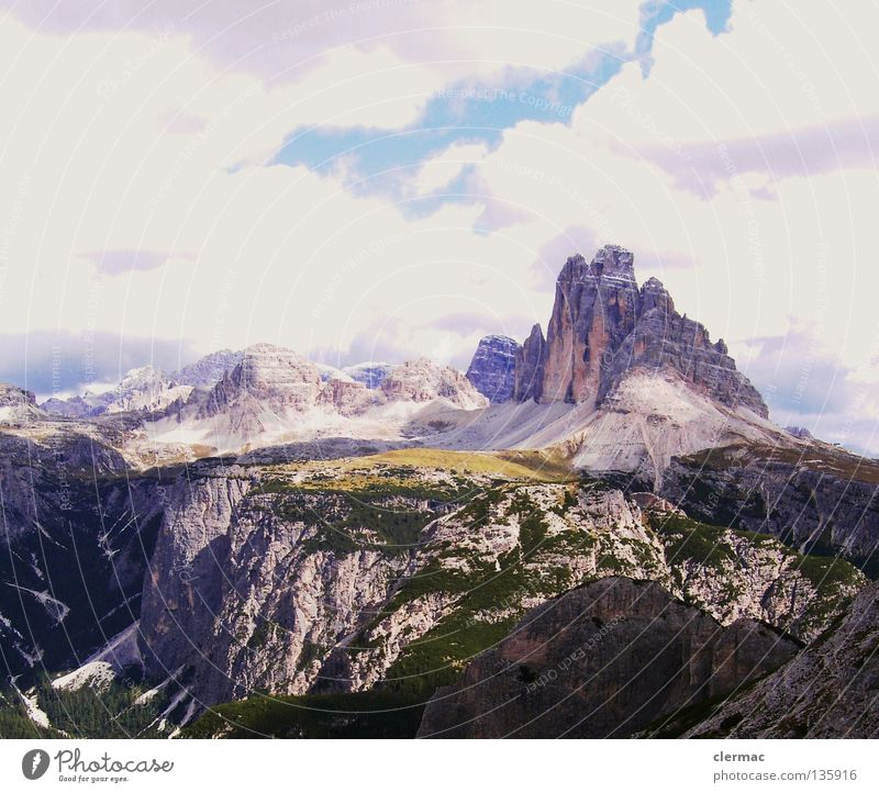 dolomites three merlons from monte piano Dolomites Merlon Italy Vacation & Travel Alpine pasture Hiking Mountaineering Piano Rock Nature sixths Sky Stone