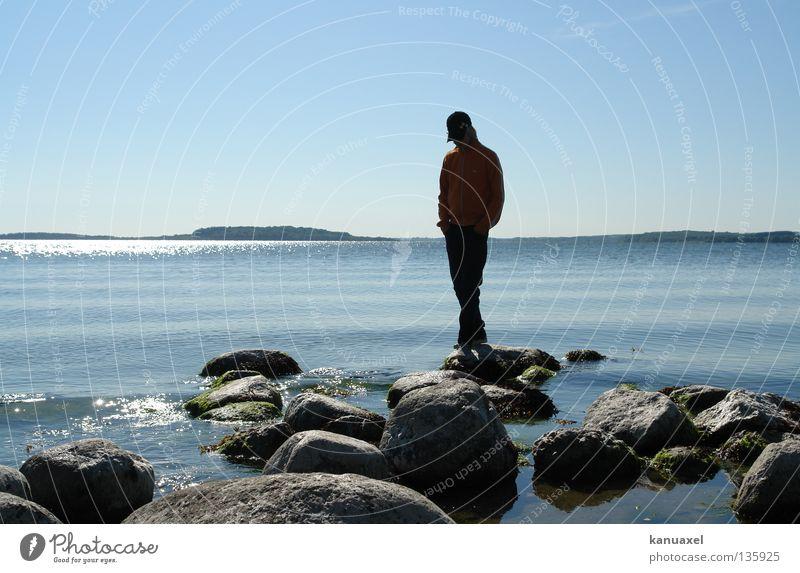 lee Ocean Calm Summer Baltic Sea Water Island Stone