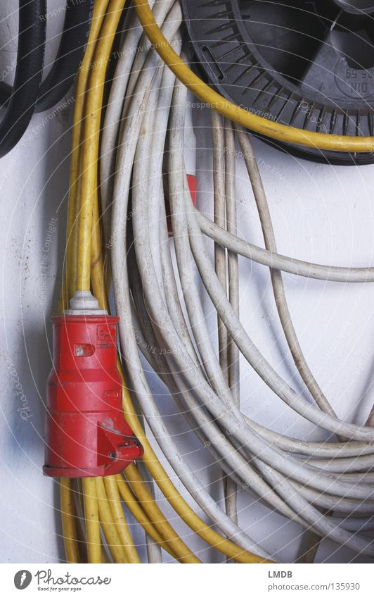 cable spaghetti Connector Electricity High-power current Coil Provision Meter Long Workshop Red Yellow White Black Gray Dirty Wall (building)