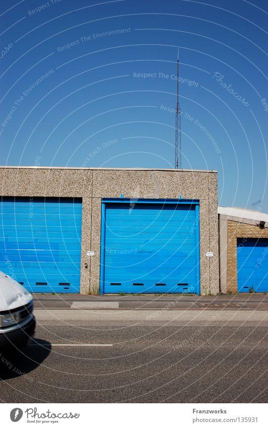 The secret is... Garage Gaudy Antenna Clean Asphalt House (Residential Structure) Town Summer Parking Driving False Traffic infrastructure Blue Statue Street