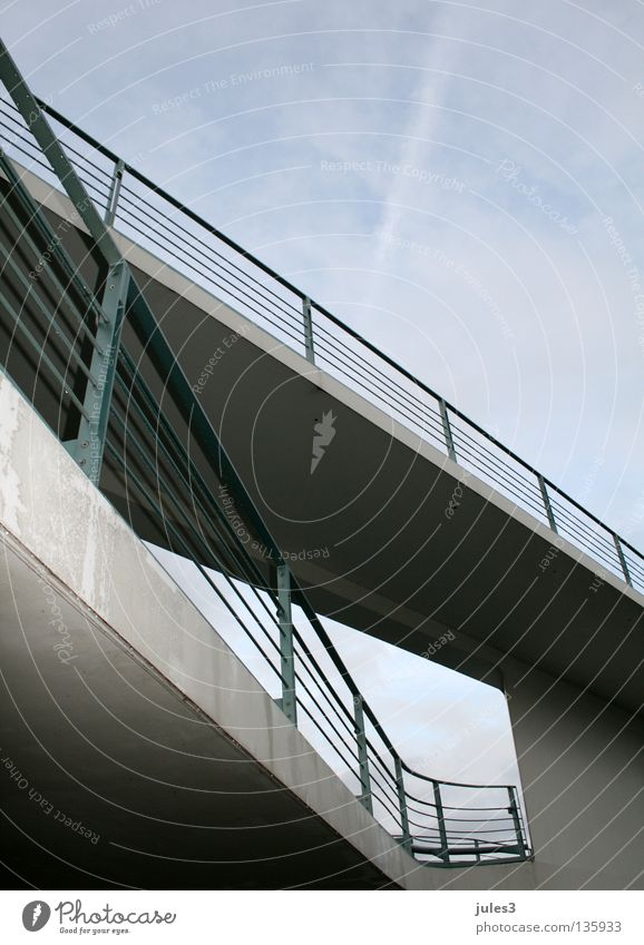 Sky Blue Architecture Gray Line Concrete Bridge Handrail