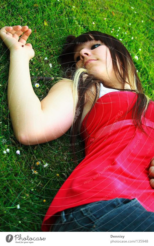 Youth (Young adults) Blue Red Summer Joy Meadow Grass Hair and hairstyles Mouth Nose Lie Pants Lady Ladybird Bow Watercraft