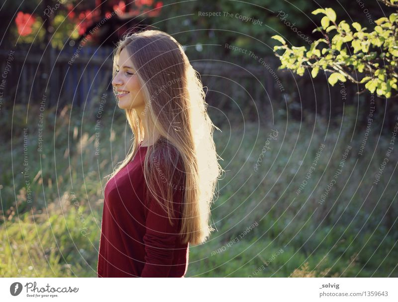 autumn rays Feminine Young woman Youth (Young adults) 1 Human being 18 - 30 years Adults Nature Beautiful weather Garden Blonde Long-haired Relaxation To enjoy