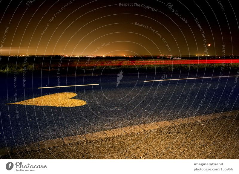 Street Dark Heart Transport Traffic infrastructure Carriage Country road Rear light