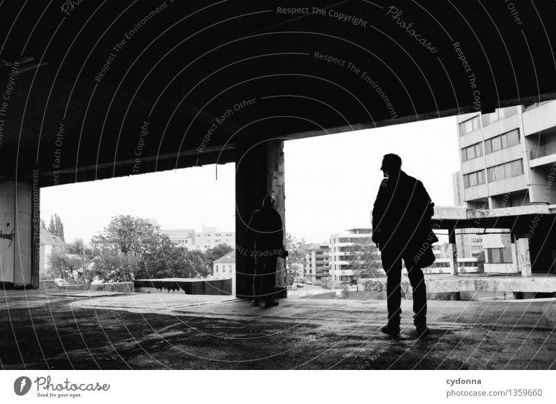 Human being Man City Loneliness Dark Adults Life Architecture Lifestyle High-rise Vantage point Future Threat Transience Planning Adventure