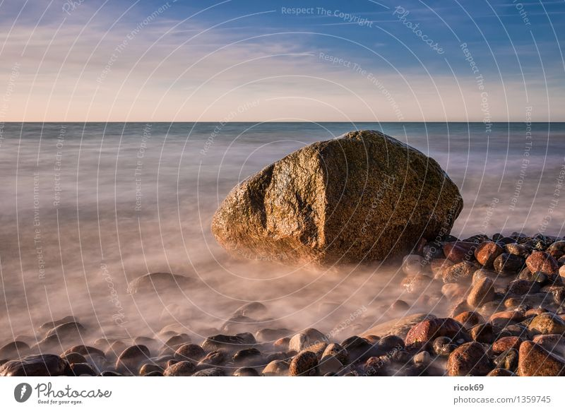 erratic block Beach Nature Landscape Water Clouds Rock Coast Baltic Sea Ocean Stone Blue Vacation & Travel Calm Tourism Stone block Wustrow Fischland Darss