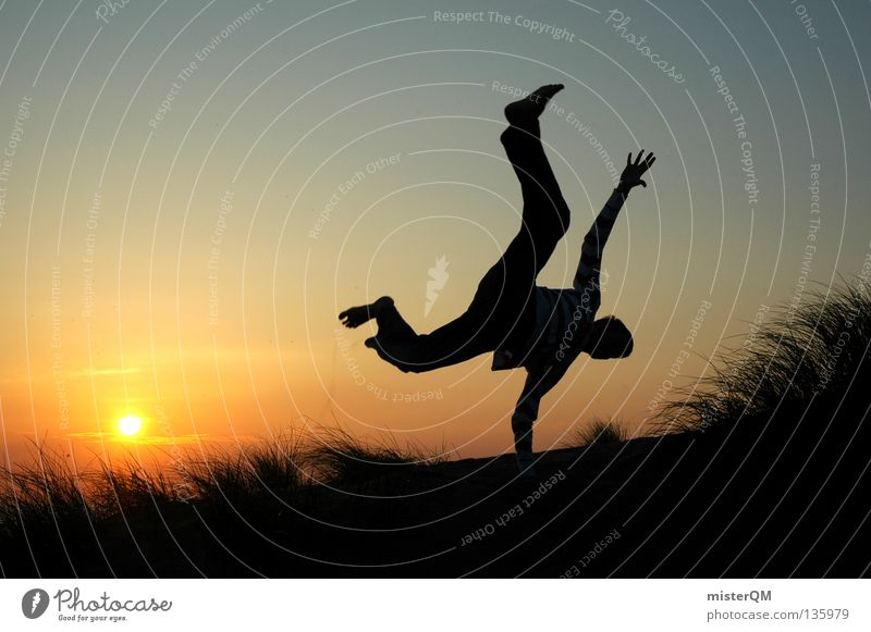 Now or never. Future Career Jump Free Freedom Sun Sunset Bicycle Wheel Beat Grass Silhouette Horizon Modern Risk Dangerous Red Evening Background picture