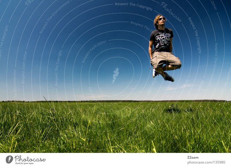 Sky Man Nature Youth (Young adults) Blue Green White Summer Calm Colour Far-off places Relaxation Meadow Landscape Grass Jump