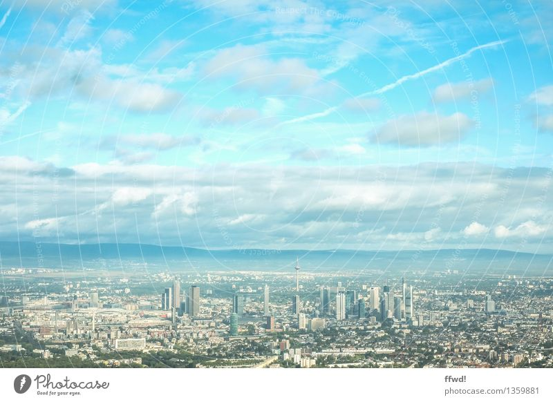 FFM Tourism Frankfurt Germany Europe Town Skyline High-rise Building Aviation View from the airplane Far-off places Cold Blue Airplane landing Colour photo
