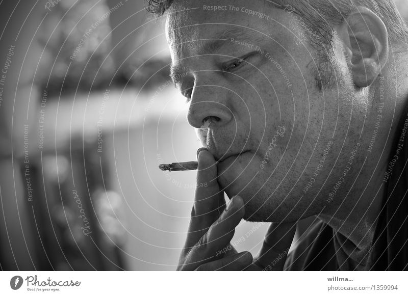 smoking man, sw portrait - in zugzwang Masculine Man Adults Cigarette Cigarette Butt Smoking Face Fingers Nicotine Harmful To enjoy Addiction Dependence