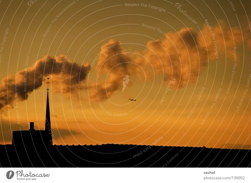 smoke sign Beautiful Calm Vacation & Travel Far-off places Living or residing Aviation Back Sky Clouds Horizon Weather Fog Building Roof Chimney