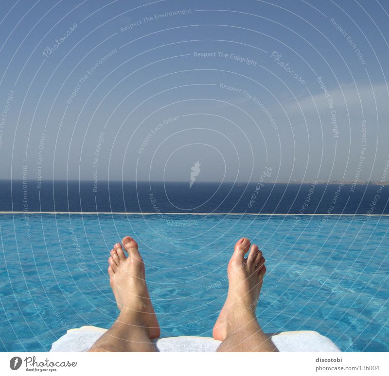 Sky Blue Vacation & Travel Water Summer Ocean Clouds Relaxation Lake Feet Waves Skin Couch Swimming pool Dive Sunbathing