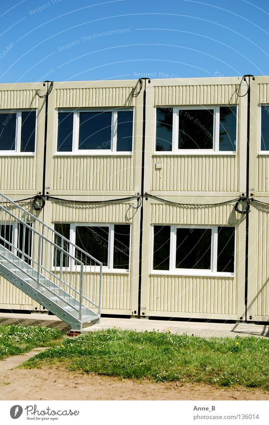 container landscape Cable Sky Beautiful weather Grass Architecture Container Stairs Window Steel Simple Blue Gray Green Beige Construction site Colour photo