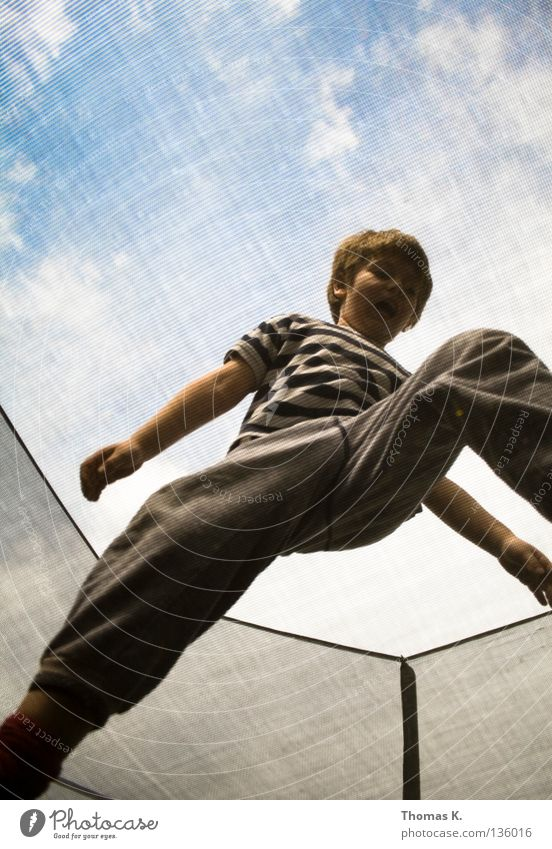 Child Joy Playing Boy (child) Jump Floor covering Safety Net Insurance Catching net Hop Salto Trampoline