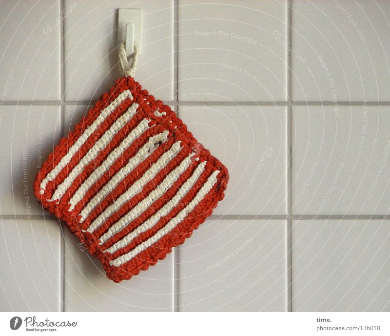 Faithful companion Hot Safety Workplace Red White Reddish white Textiles Wall (building) Checkmark Hang Hang up Square Parallel Detail Household Kitchen