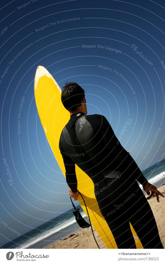 Out there. Ocean Surfer Surfboard Sky Yellow Man Beach Waves Summer Water Aquatics Funsport Pacific Beach San Diego County sea wetsuit Wooden board Surfing