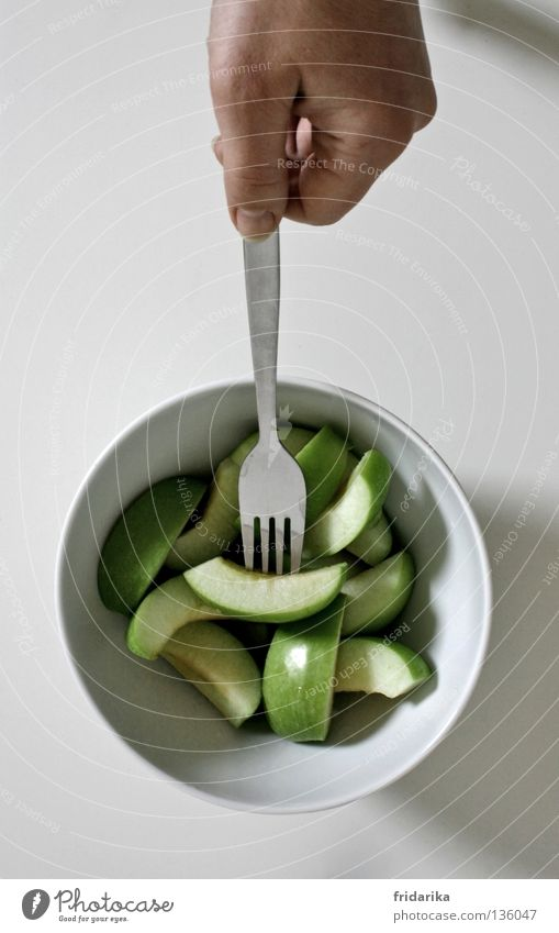 apple pieces II Fruit Apple Nutrition Eating Organic produce Diet Bowl Cutlery Fork Healthy Wellness Life Cure Hand To hold on Fresh Juicy Green White Crunchy