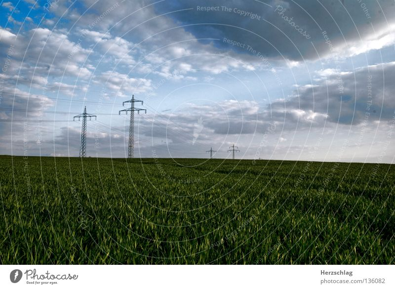 Sky Clouds Grass Landscape Transport Energy industry Electricity Electricity pylon