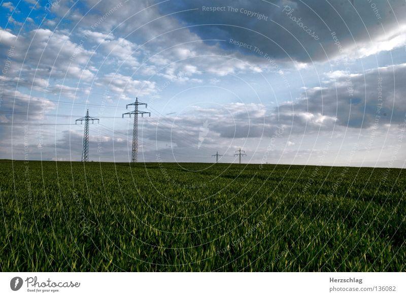Sky Clouds Grass Landscape Transport Energy industry Electricity Electricity pylon