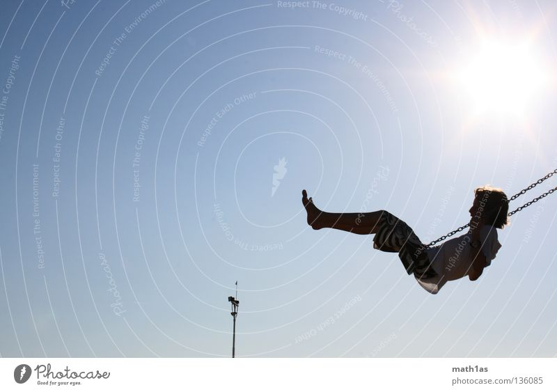 Sky Sun Blue Beach Boy (child) Playing Feet Sand Tower Wing Swing Pole Swing