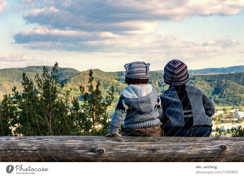 Human being Child Nature Vacation & Travel Tree Clouds Forest Mountain Autumn Boy (child) Family & Relations Masculine Hiking Infancy Sit Beautiful weather