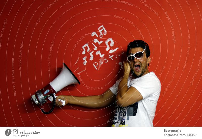 louder++ Scream Wall (building) Red Calm Crash Song Street art Honest Megaphone Turn up Eyeglasses Sunglasses Listening Typography Beat Gesture