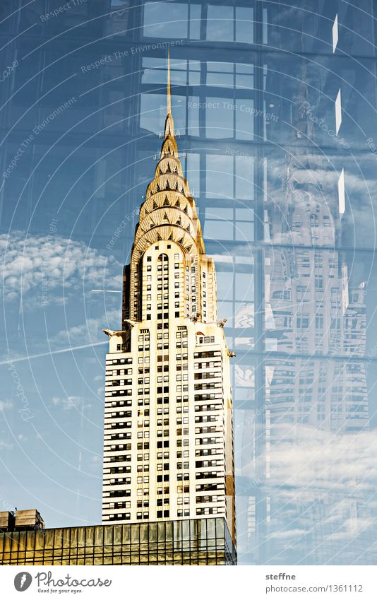 levels of meaning Beautiful weather Manhattan New York City USA Town Skyline High-rise Landmark Double exposure Elegant Chrysler Building Art deco Reflection