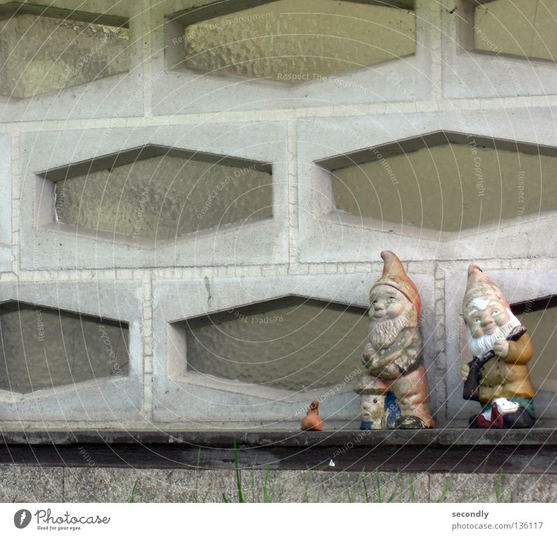 Old Loneliness Garden 2 Retro Decoration Transience Friendliness Dwarf Garden gnome World heritage Santa Claus hat Earth colour