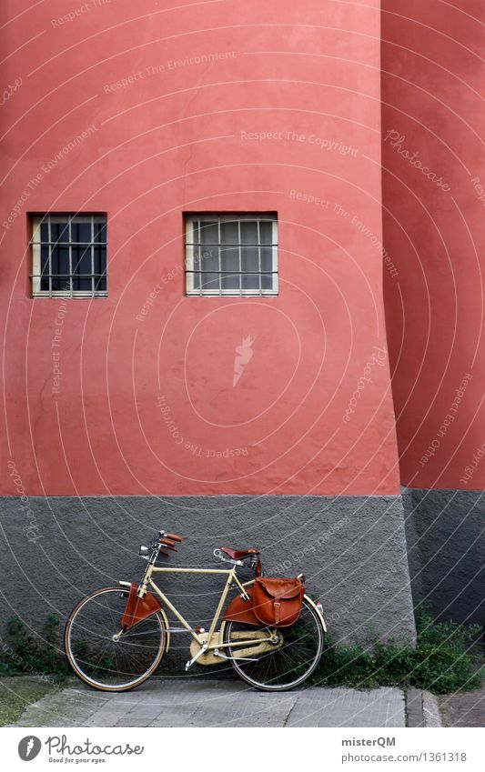 Radl. Small Town Esthetic Going Bicycle Wall (barrier) Cycling tour Bicycle handlebars Bicycle saddle Bicycle fittings Backyard Decent Window Red Colour photo