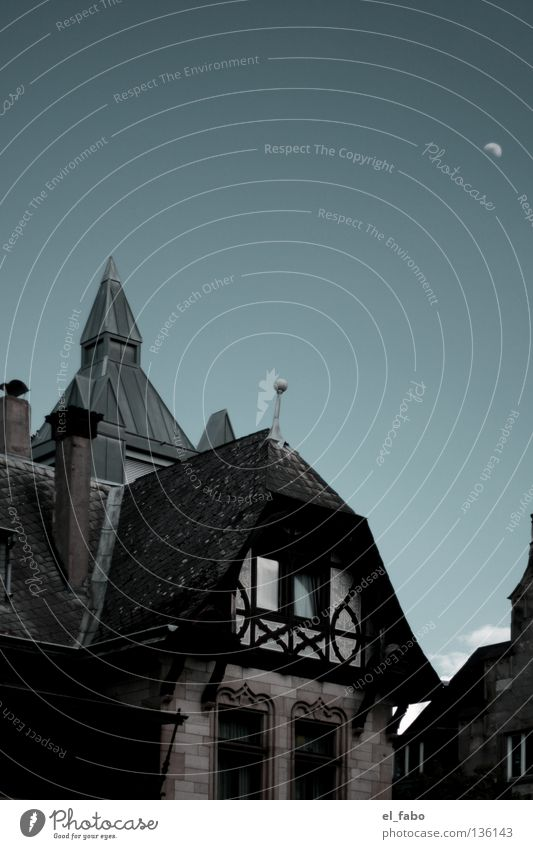 Old Sky House (Residential Structure) Dark Window Modern Tower Moon Beautiful weather Chimney Bonn Half-timbered facade Witch's house
