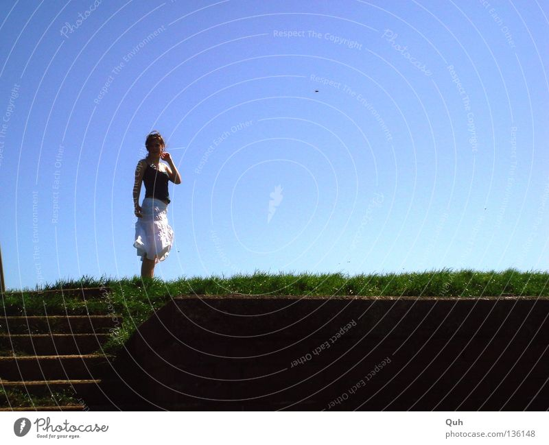 Woman Human being Sky White Ocean Green Blue Summer Meadow Above Grass Stone Coast Wind Stairs Lawn