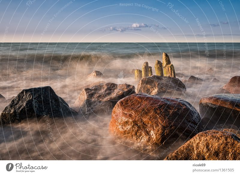 Baltic coast Relaxation Vacation & Travel Sun Beach Ocean Nature Landscape Water Clouds Rock Coast Baltic Sea Stone Old Romance Idyll Calm Tourism Break water