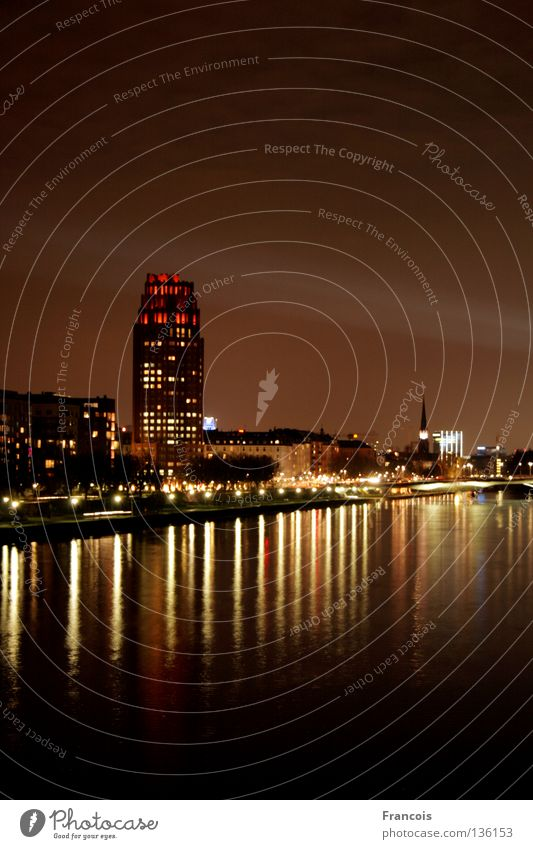 Luminale 2008 Frankfurt Main Light High-rise Reflection Town luminale Beam of light Skyline