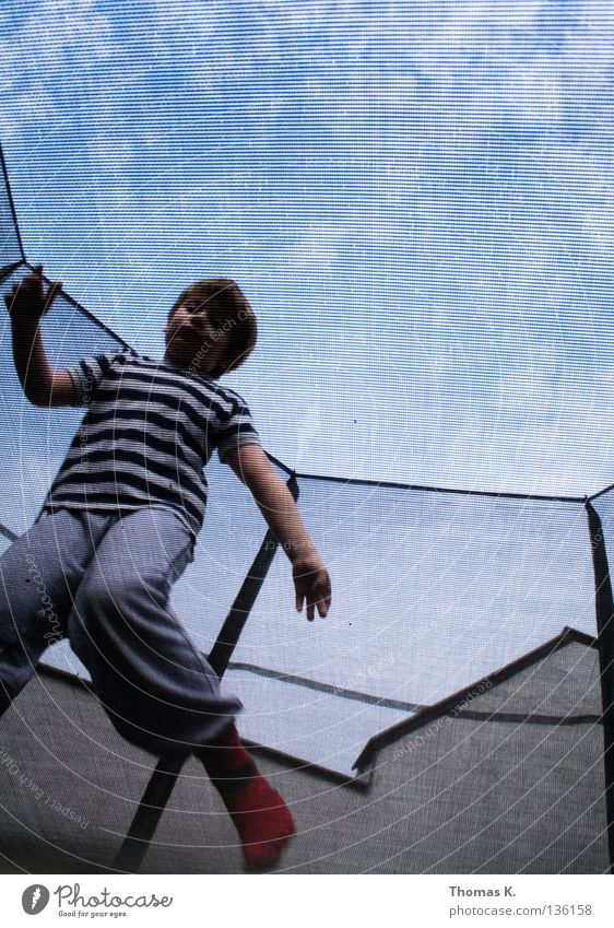 Child Joy Playing Boy (child) Jump Floor covering Safety Net Insurance Catching net Hop Salto Trampoline