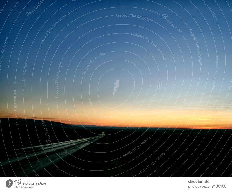 beyond the horizon Motoring Driving Vacation & Travel Twilight Evening Horizon Warm colour Water ditch Asphalt Tar Right ahead Direction Future Sunset Dark